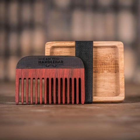 Handmade Paduak Wood Comb and Oak Holder, Comb Outside