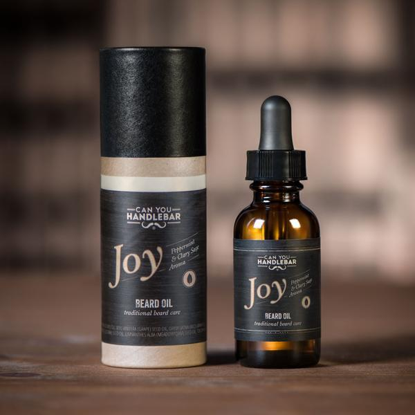 Joy Peppermint and Clary Sage Beard Oil Bottle and Tube