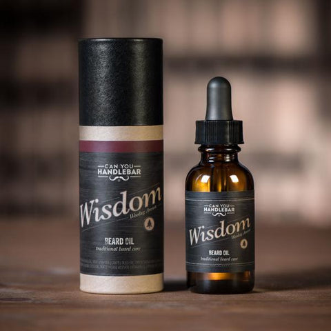 Wisdom Bright and Woodsy Beard Oil Bottle and Tube