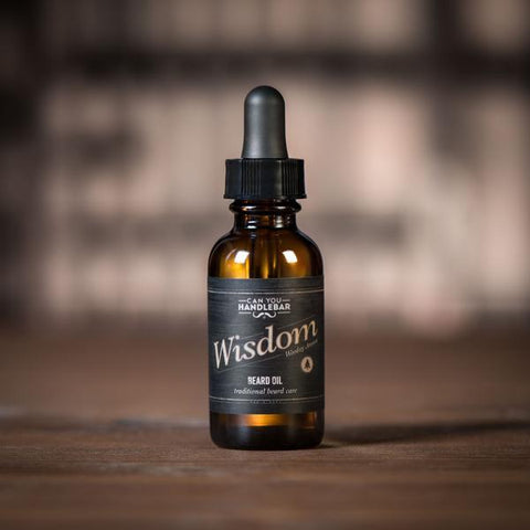 Wisdom Bright and Woodsy Beard Oil Bottle