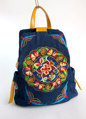 Denim Embroidery Backpack - Style Me Love