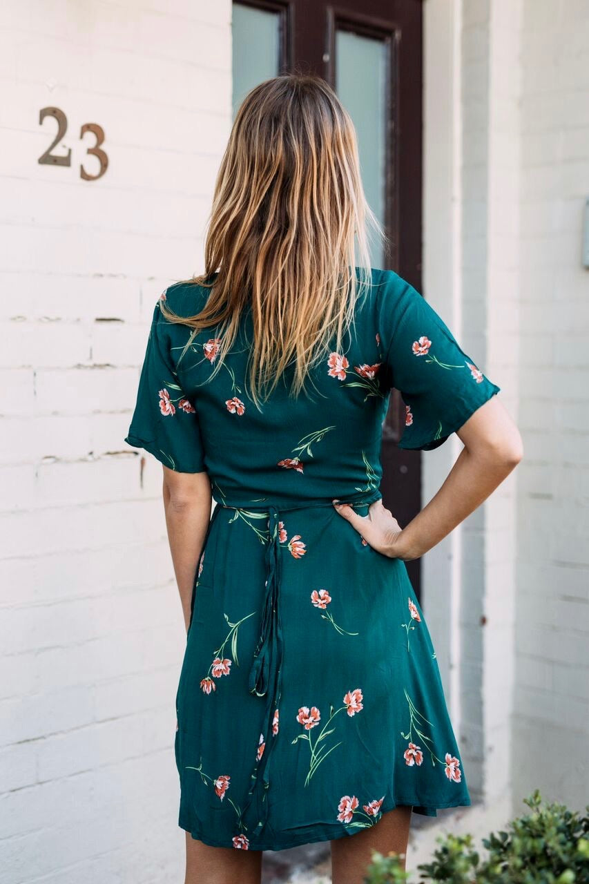 Emerald Green Wrap Dress - Style Me Love