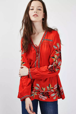 Red Bohemian Top - Style Me Love