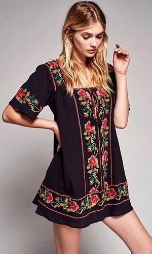 Black Folk Embroidery Dress - Style Me Love