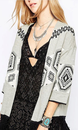 Gray Tribal Fringe Cardigan - Style Me Love