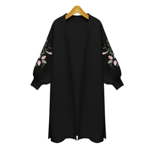 Lantern Sleeves Embroidered Cardigan - Style Me Love