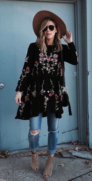 Black Embroidery Dress - Style Me Love