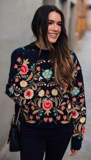 Rich Embroidery Sweater - Style Me Love
