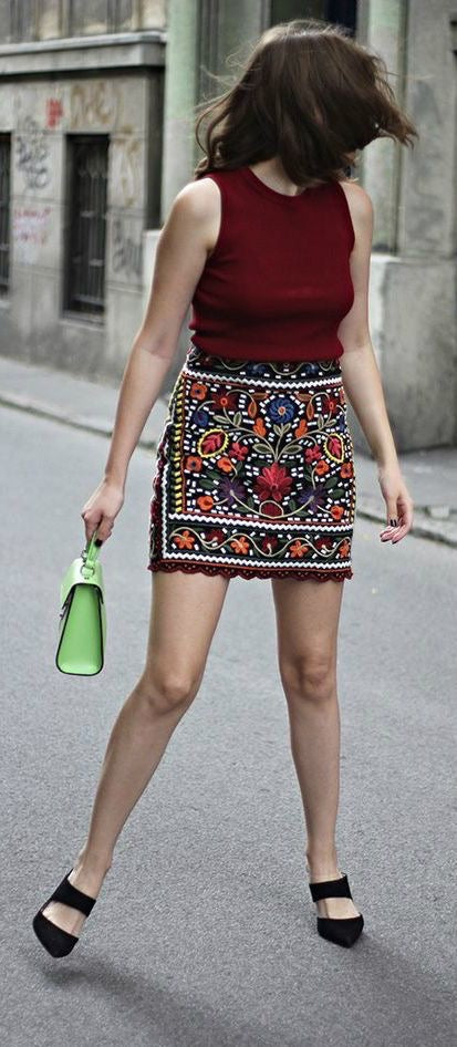 Gypsy Embroidered Skirt - Style Me Love
