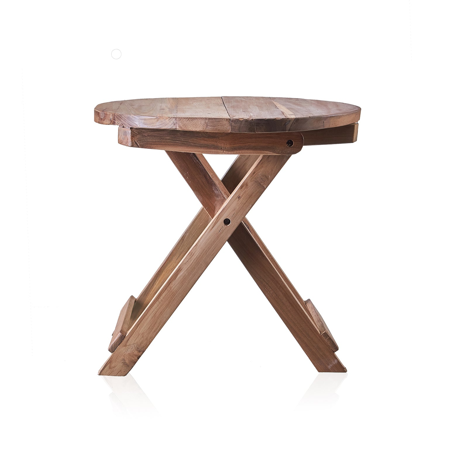 Round Folding Coffee Table - 50cm - Recycled Wood