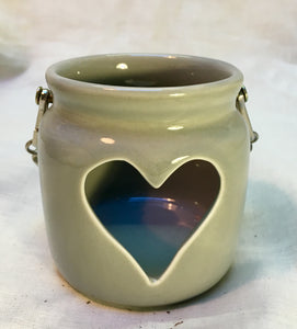 Grey Heart t-light holder