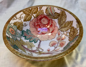 Wooden bowl with floral ceramic inner