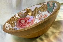 Load image into Gallery viewer, Wooden bowl with floral ceramic inner