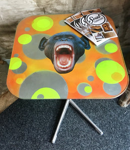 Psychedelic monkey side table