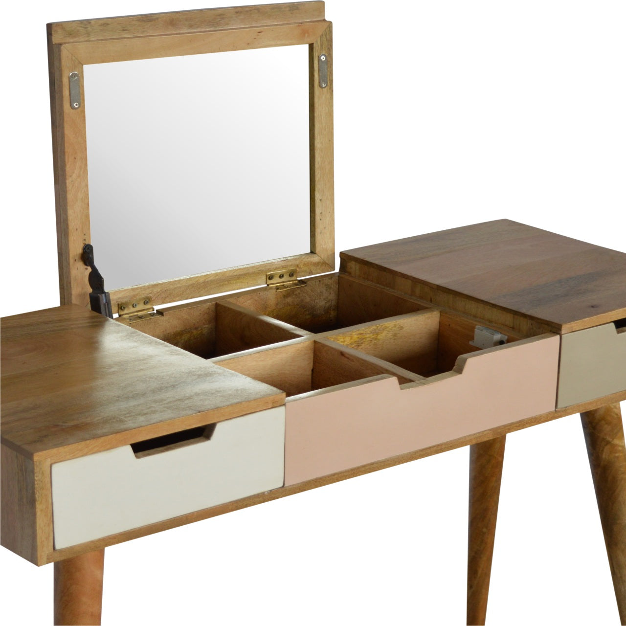 Blush Pink Dressing Table with Foldable Mirror