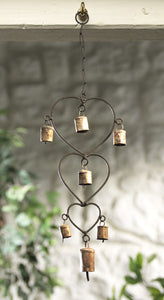 Windchime with 3 hearts and bells