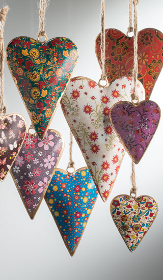 Floral Design Metal Hanging Heart