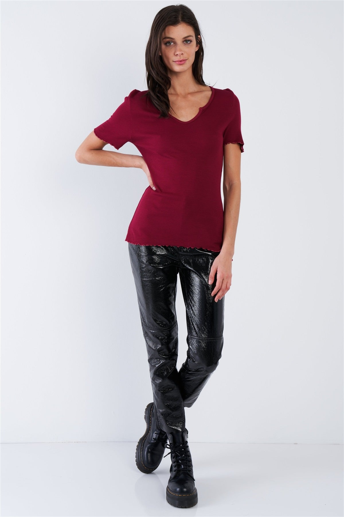 Cherry Red Ribbed Fitted V-Neck Top