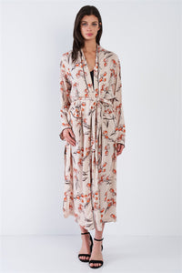 Flower Color Block Self-tie Kimono Duster