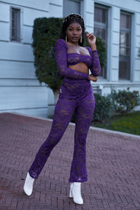 Purple Sheer Floral Crop Top & High Waist Pants Set