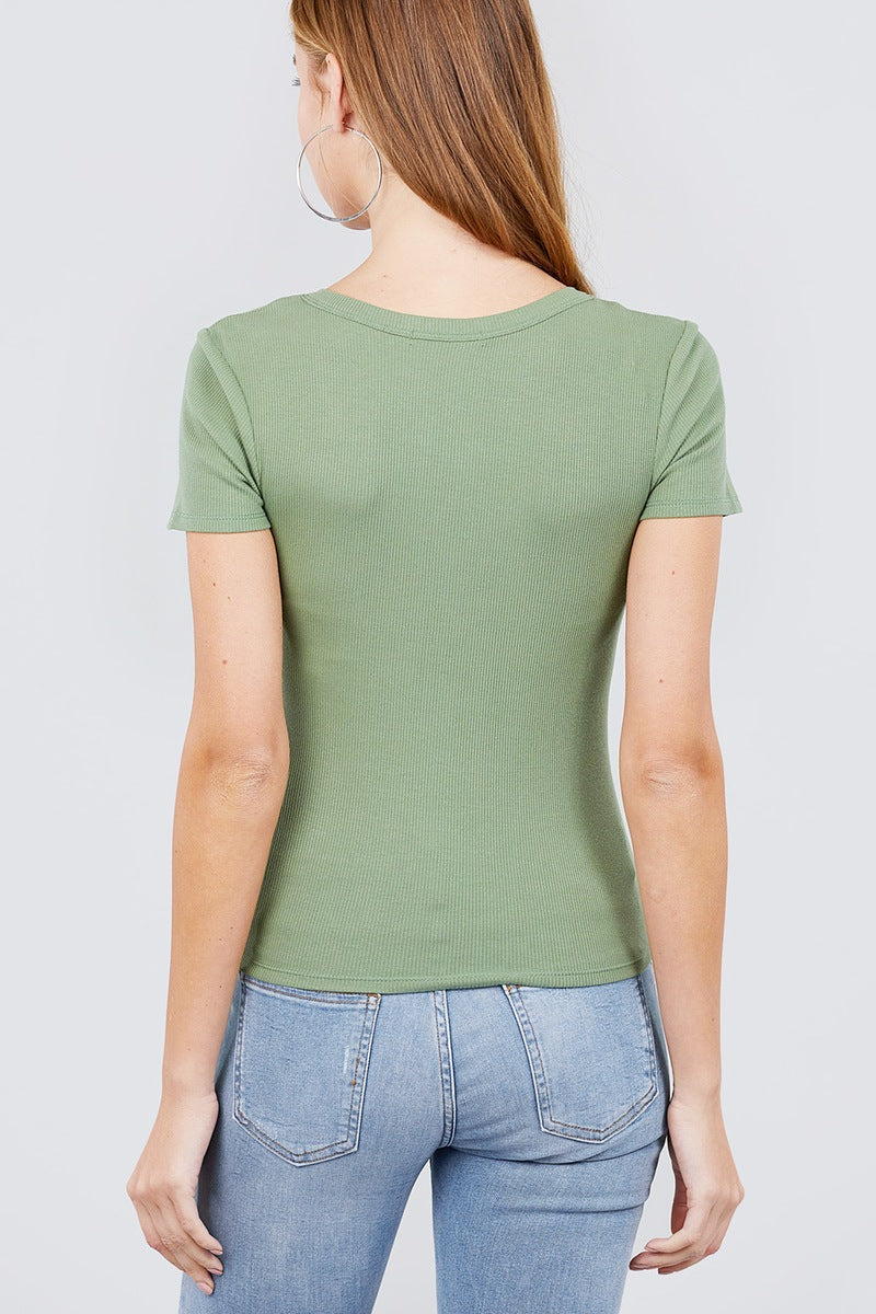 Short Sleeve Green Cotton V-neck W/buttons Rib Top