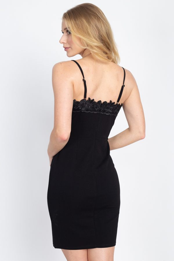 Floral Lace Embroidered Black Mini Dress