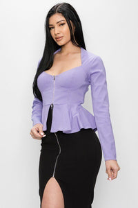 Long Sleeve Ruffle Zip-up Lavender Bodycon Jacket