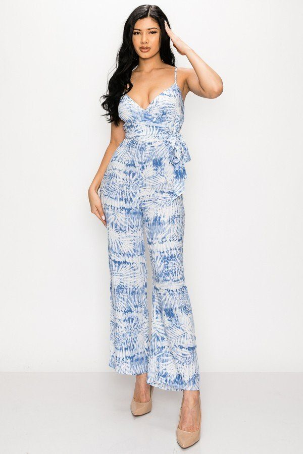 Tropical Blue Leaf Print Tie Waist Jumpsuit