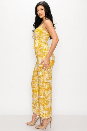Tropical Yellow Leaf Print Tie Waist Jumpsuit