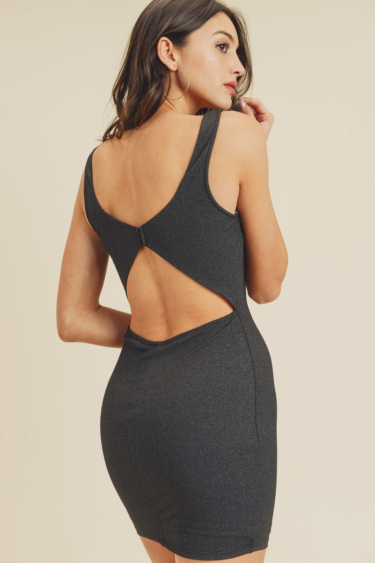 Black Open Back Plunging V-neck Bodycon Dress