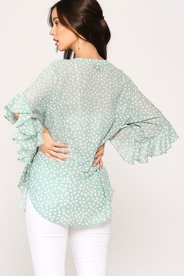 Leopard Printed Mint Crepe Top