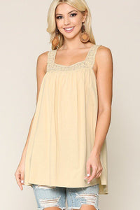 Square Neck Natural Crochet Trim Sleeveless Top