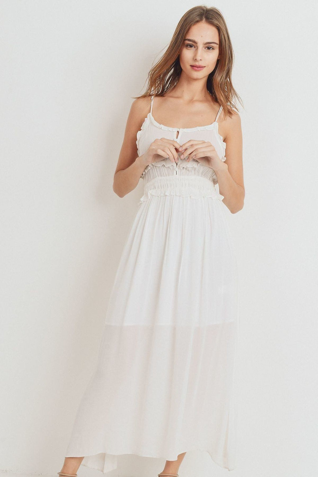 White Ruffled Edges Spaghetti Strap Maxi Dress