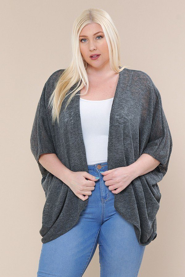 Charcoal Open Front Cardigan Back V-neck Kimono Sleeves