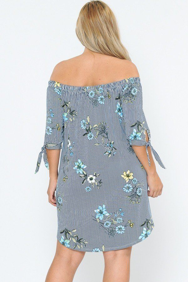 Off Shoulder Navy/Ivory Round Hem Midi Dress