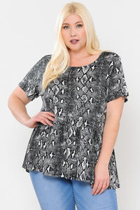 Camo Print Babydoll Short Sleeve Top
