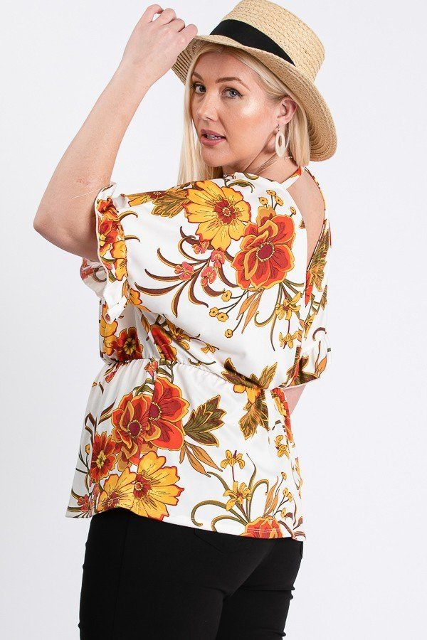 Casual Ivory/Yellow W Elastic Waistband Floral Top