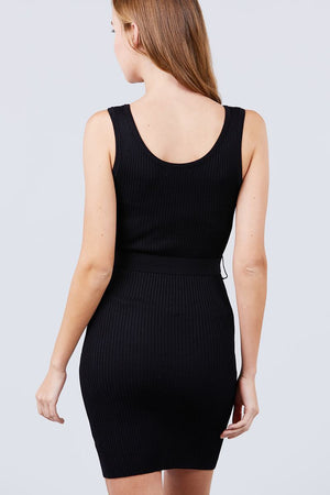 Sleeveless Black Scoop Neck Rib Sweater Mini Dress