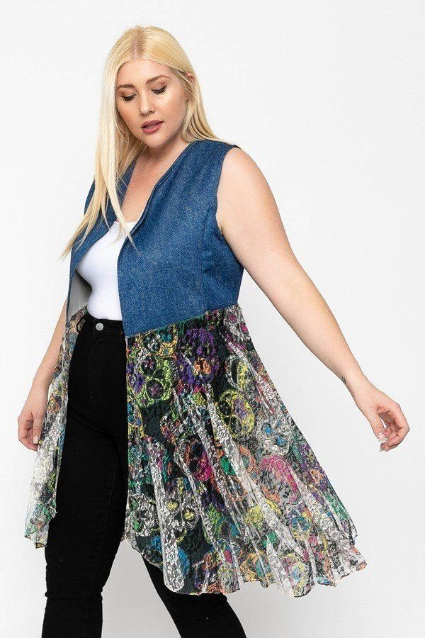 Sleeveless Blue/Denim Lace Print Cardigan