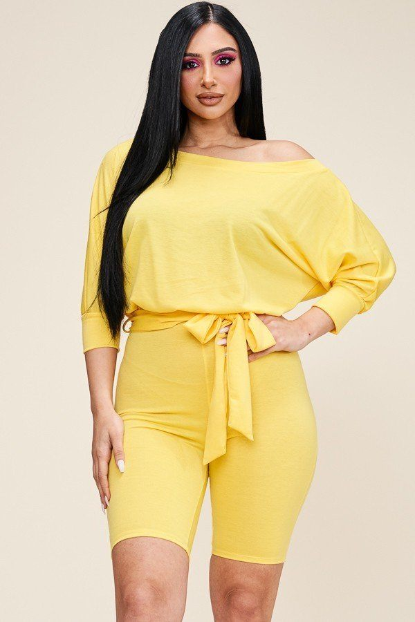 Slouchy Yellow French Terry 3/4 Sleeve Romper