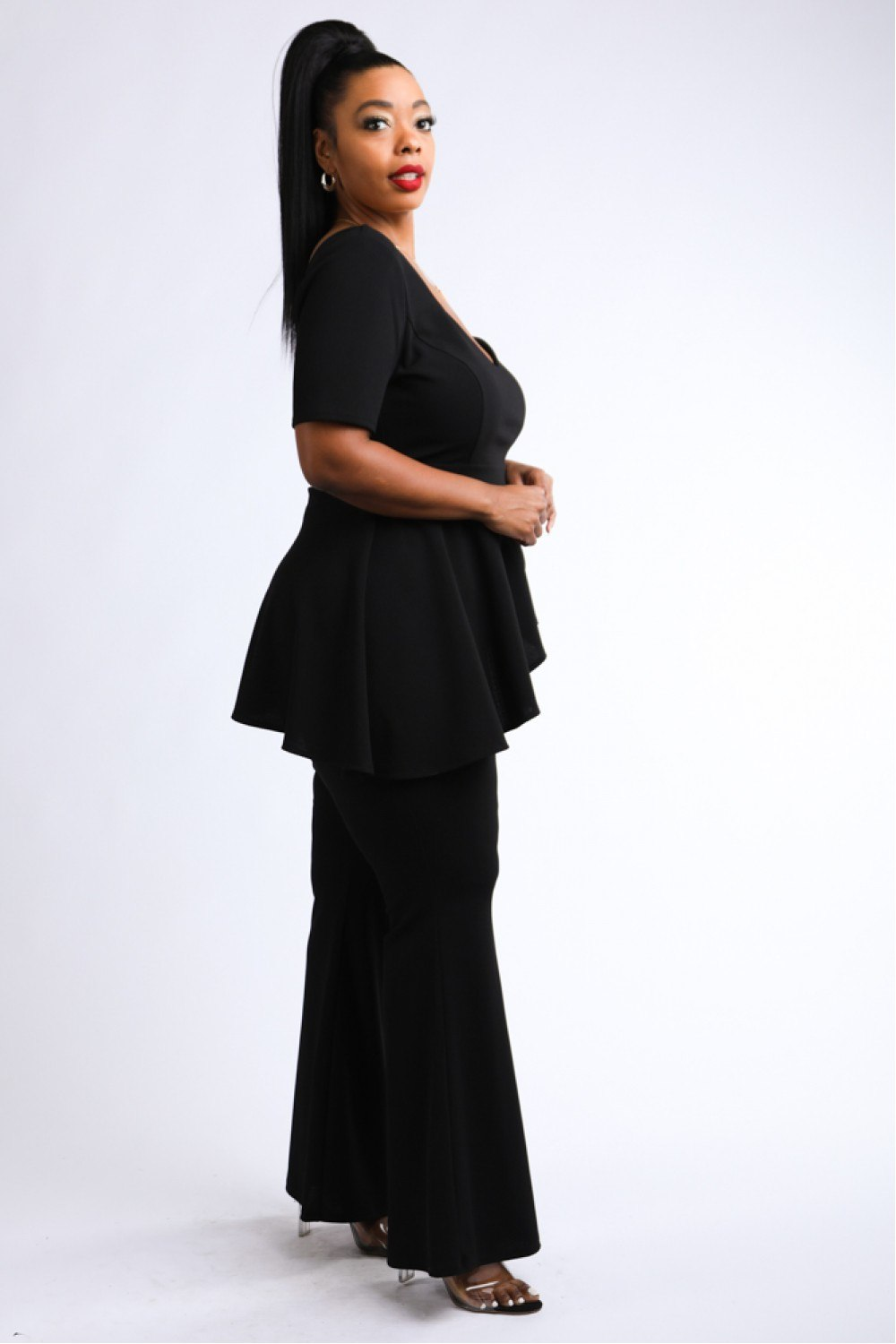 Black Peplum Asymmetrical Top & Wide Leg Pants Set