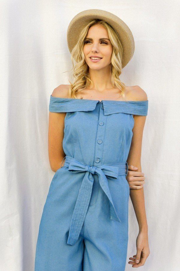 Off-shoulder Chambray Denim Wide Leg Palazzo Jumpsuit