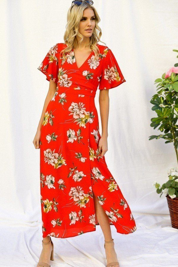 Spring Red Floral Print Short Bell Sleeve Wrap Maxi Dress