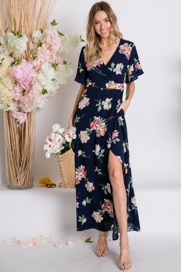 Spring Navy Floral Print Short Bell Sleeve Wrap Maxi Dress