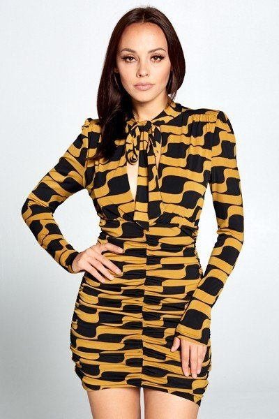 Long Sleeve Front Tie Abstract Bodycon Mini Dress