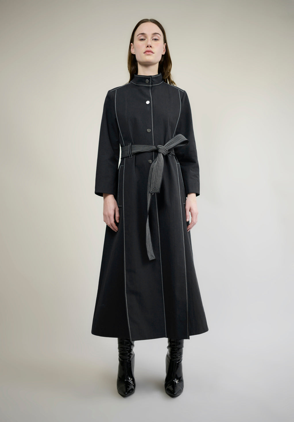 COTTON GABARDINE PLEATED TRENCH COAT