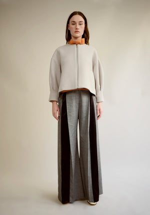 WOOL AND SILK PLEATED TROUSERS