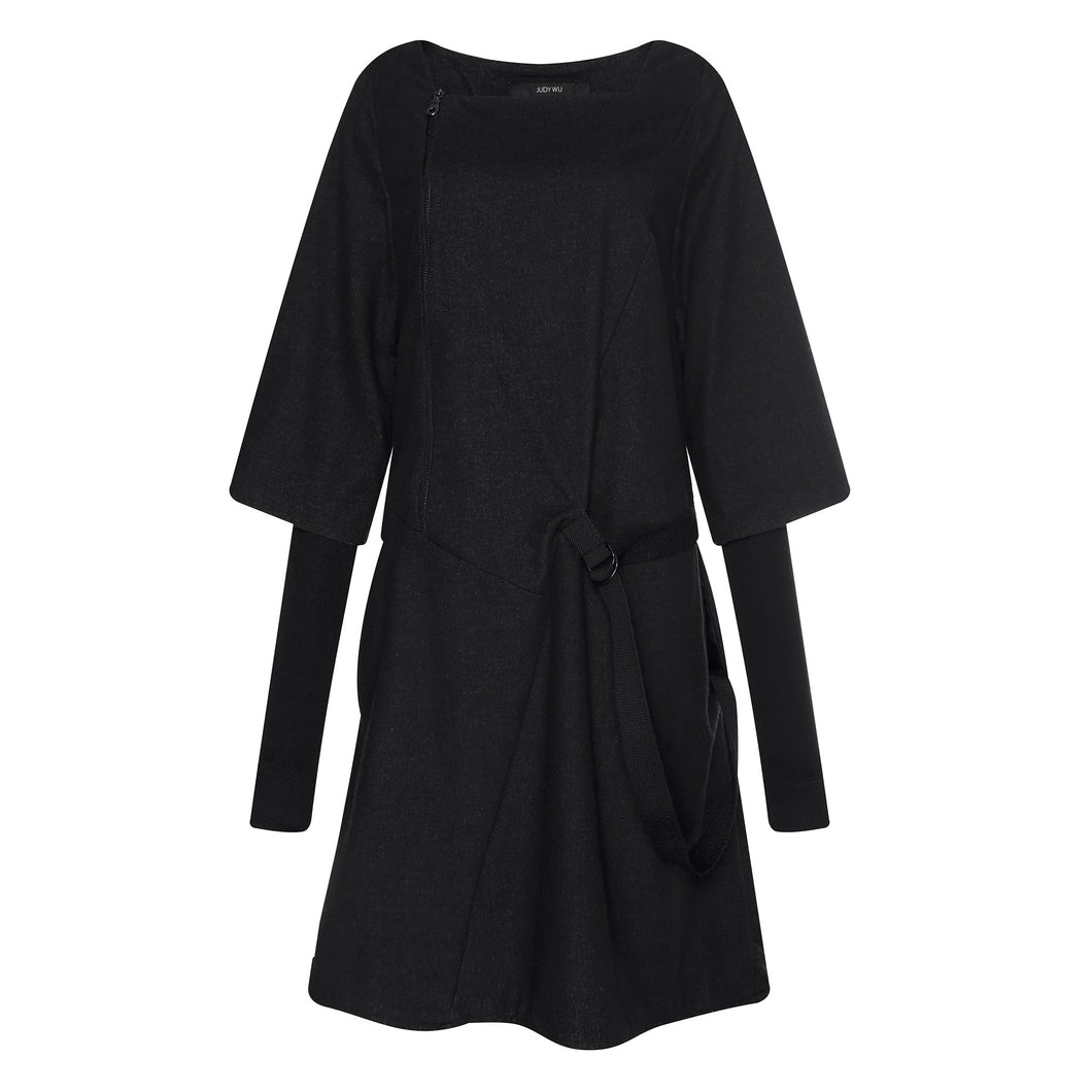 Double Sleeves Biker Dress