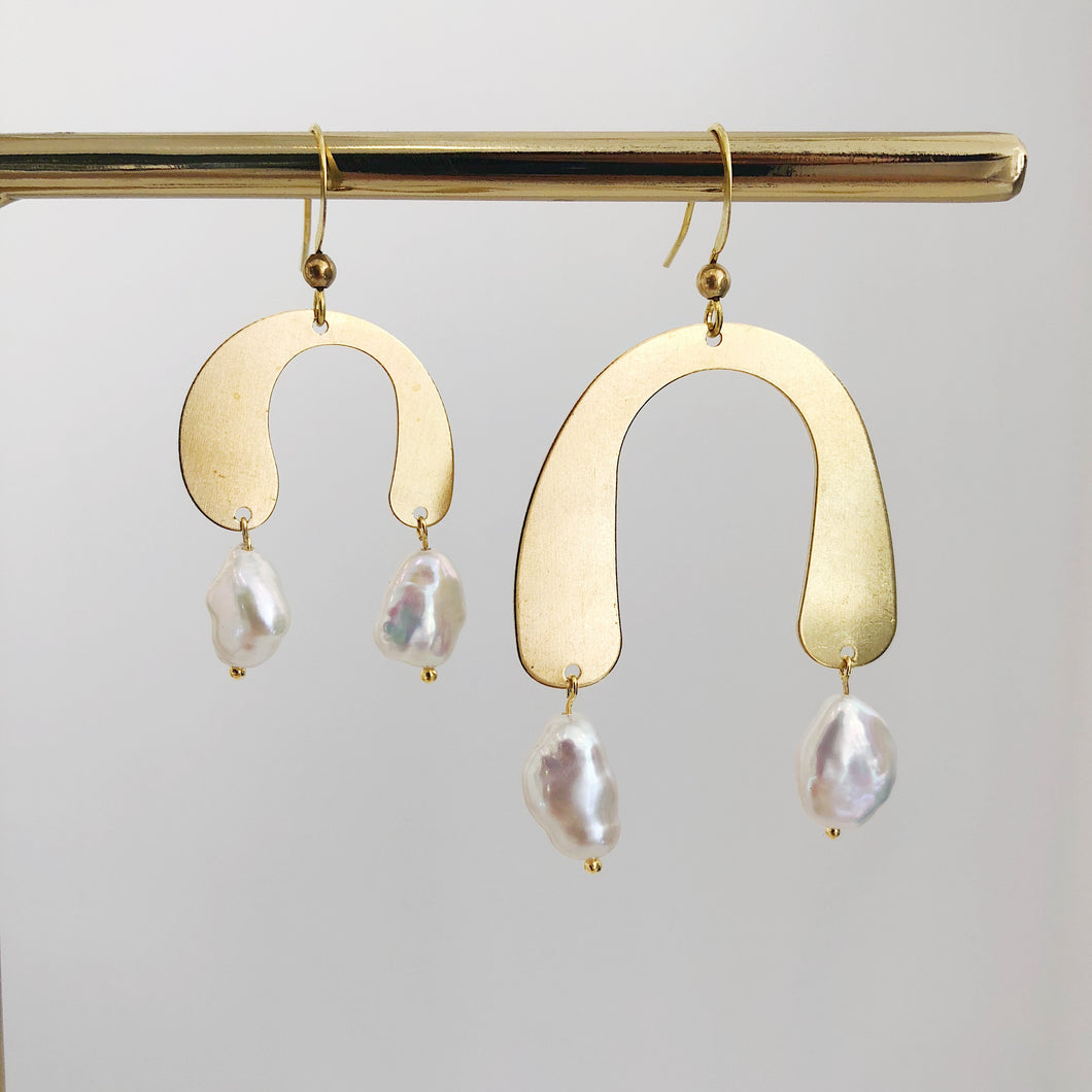Irregular Brass Pendents Pearl Earrings