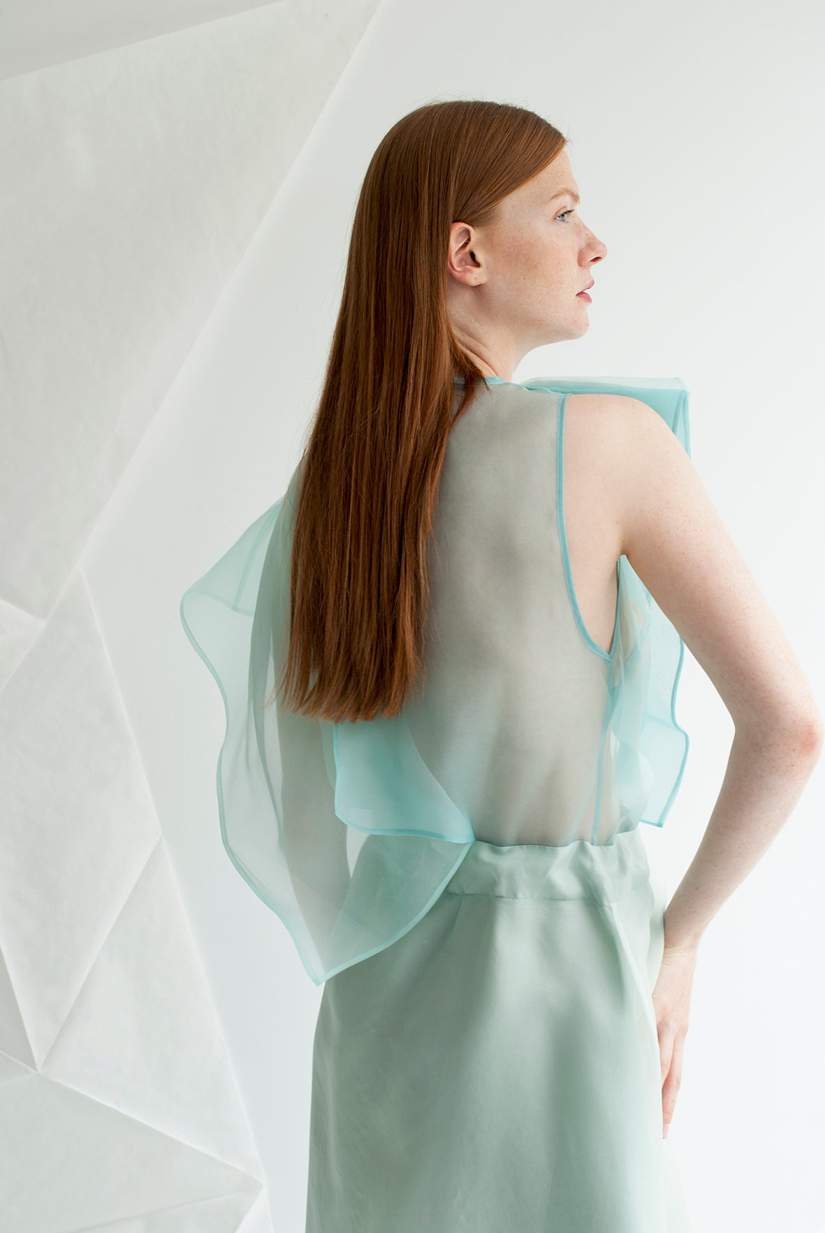 Origami Bird Silk Organza Dress